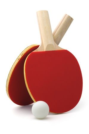 Pair of red ping-pong rackets and white ball, isolated on white background 版權商用圖片 - 11265910