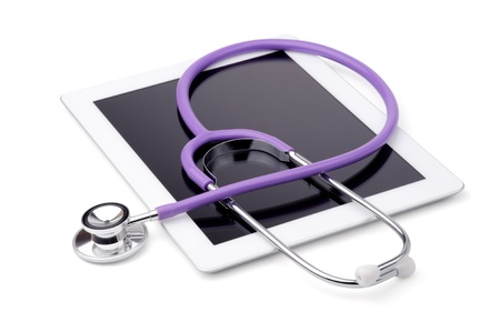 Stethoscope and tablet, isolated on a white background 版權商用圖片
