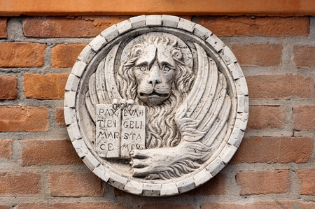 Lion of Saint Mark, marble carving, white bas-relief