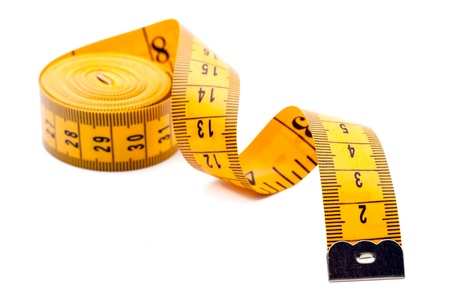 Yellow tailor meter, isolated on white background Stock Photo