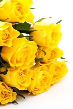 Yellow roses bouquet, isolated on white background photo