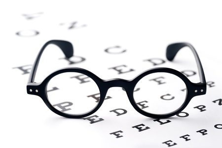 Old-fashioned round black eyeglasses, lying over the eye-checking chart 写真素材