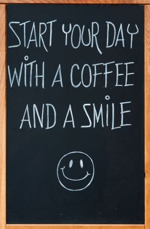 advertizing: Board with slogan, cafe advertizing