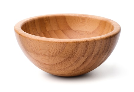 Kitchen utensils: single empty wooden bowl, isolated on white background