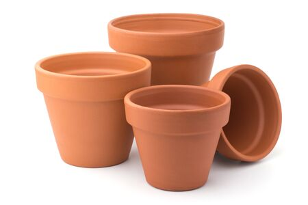 flower pot: Gardening: group of empty ceramic flower pots, isolated on white background