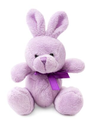 plush toy: Toys  small pink or lilac rabbit, isolated on white background