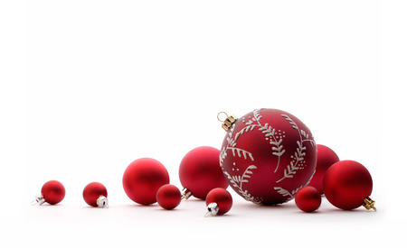 group of christmas baubles: Christmas decorations: group of red Christmas balls, Christmas tree decorations, isolated on white background Stock Photo