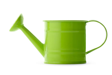 Gardening: little green watering can, isolated on white background