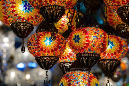Backgrounds and textures: traditional turkish mosaic lanterns at Istanbul` s Grand Basaar, touristic abstract photo