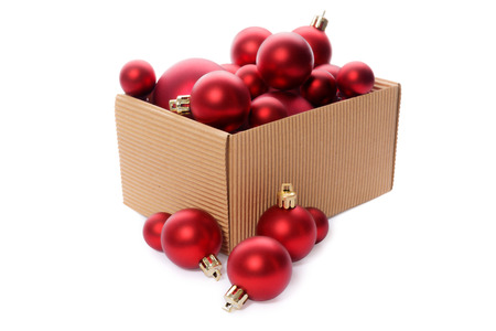 christmas decorations group of red christmas balls in a kraft corrugated cardboard box christmas - Cardboard Box Christmas Decorations