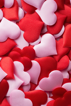 else: Backgrounds and textures: mix of red and pink hearts, suitable for Valentine`s day or wedding or some else romantic event Stock Photo