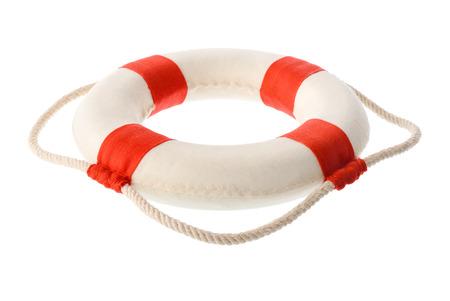 고립 된 개체 : 흰색 빨간색 lifebuoy, 흰색 배경에 고립 된