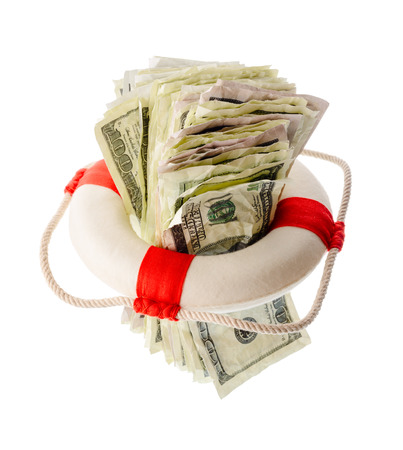 onehundred: Money and finance: saving dollars, pack of one-hundred dollar bills inside a lifebuoy. Isolated on white background. Not a real money.
