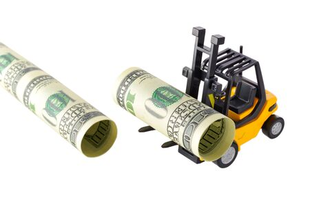 onehundred: Isolated objects: financial concept, yellow forklift building a pipeline with one-hundred dollar bills, rolled as tubes, isolated on white background.