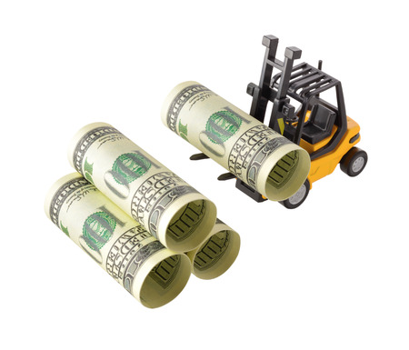 Isolated objects: financial concept, yellow forklift stacking up one-hundred dollar bills, rolled as tubes, isolated on white background. photo
