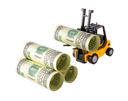 onehundred: Isolated objects: financial concept, yellow forklift stacking up one-hundred dollar bills, rolled as tubes, isolated on white background.