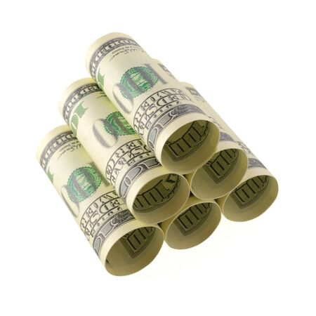onehundred: Isolated objects: financial concept, one-hundred dollar bills, rolled as tubes and piled, isolated on white background.
