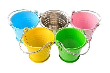 five objects: Isolated objects: five colorful buckets, arranged as a symbol of  Games, isolated on white background