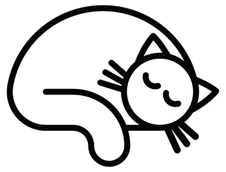 Isolated objects: sleeping white cat, on white background, editable vector image, for use as icon, patch, sticker, logo, design element