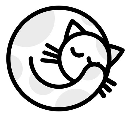 grey cat: Isolated objects: sleeping white grey cat, on white background, editable vector image, for use as icon, patch, sticker, logo, design element Illustration