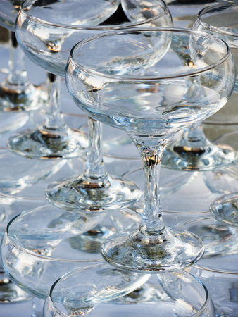refractions: Textures and backgrounds: stack of empty wine glasses, abstract lines, reflections and refractions, nice glassware background Stock Photo