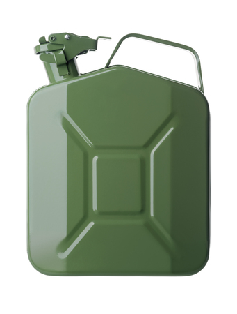 canister: Isolated objects: green gasoline canister, isolated on white background Stock Photo