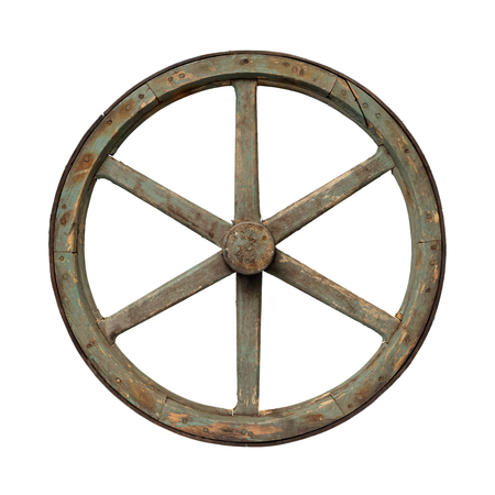 carreta madera: Isolated objects: one very old wooden waggon wheel on white background