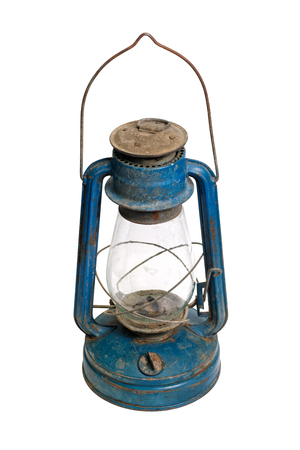 Isolated objects: very old shabby and rusty blue kerosene lamp, on white background Stock Photo