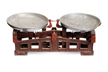 weigh machine: Isolated objects: old weight scales, on white background Stock Photo