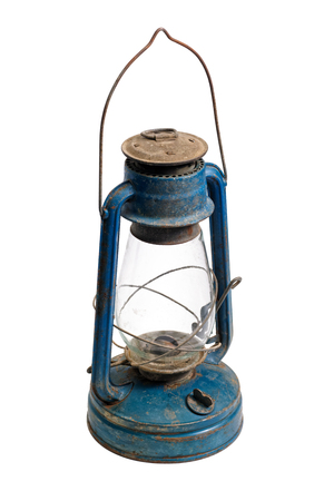 Isolated objects: very old shabby and rusty blue kerosene lamp, on white background 版權商用圖片