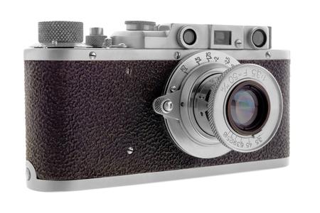 Isolated objects: classic rangefinder film camera, isolated on white background Stock Photo