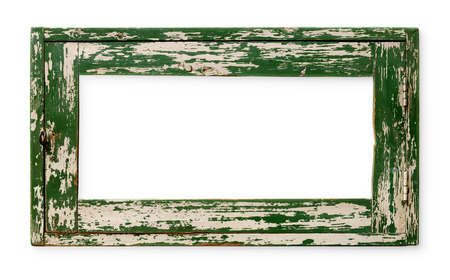 Very old empty wooden frame, painted green, isolated on white Stock Photo