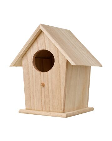 Isolated objects: handmade wooden bird nesting box, bird house, on white background