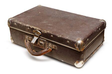 Isolated object: old shabby suitcase, close-up shot, on white background Stock Photo