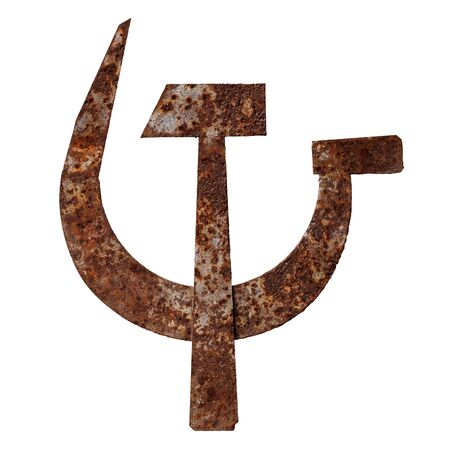 Isolated objects: crossed metal hammer and sickle, old rusty symbol of communism, on white background 免版税图像