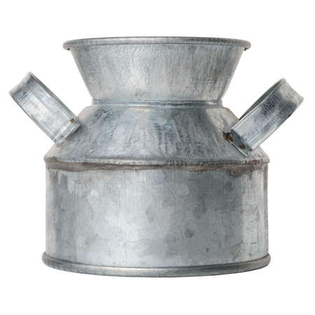 Isolated objects: empty rustic zinc-plated metal vessel on white background