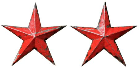 isolated objects: two old metal red stars, on white background