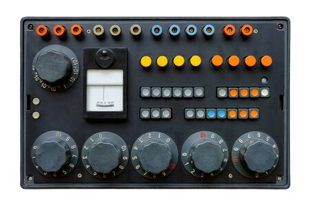 Isolated objects: very old control panel with switches, buttons, indicators and dials 版權商用圖片