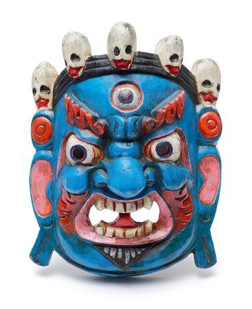 Traditional painted wooden mask of Mahakala, isolated on white background 版權商用圖片