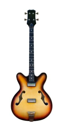 Old semi-acoustic bass guitar with no strings attached, isolated on white background