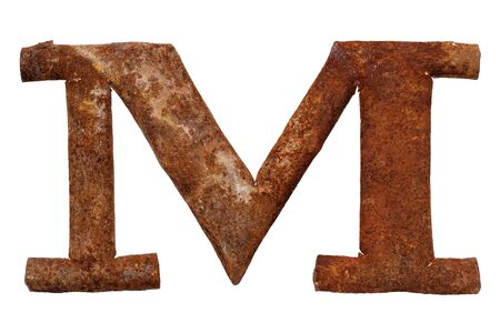Old rusty metal letter M, isolated on white background