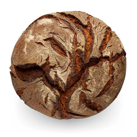 Traditional round rye bread, isolated on white background 版權商用圖片