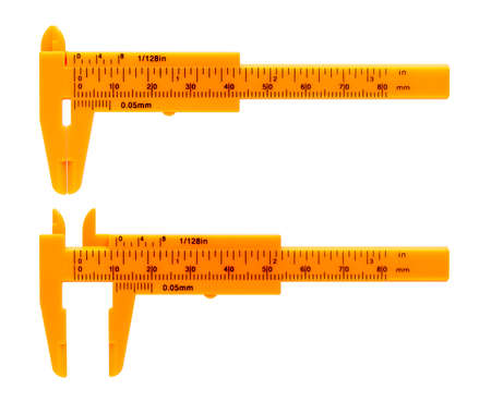 Isolated objects: orange calipers, on white background