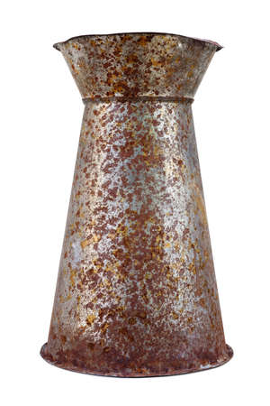 Isolated objects: old metal flower vase, weathered and rusty, on white background