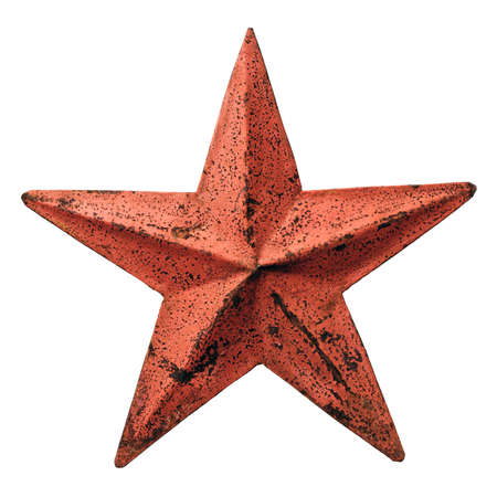 Isolated objects: old metal red star, weathered and rusty, on white background