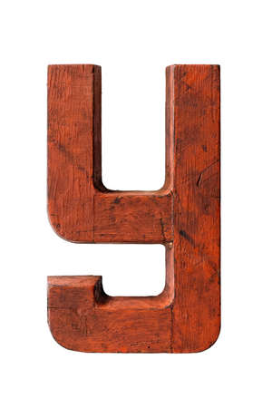 Old wooden painted red letter Y, isolated on white background 版權商用圖片