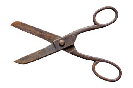 Old rusty scissors, opened, isolated on white background
