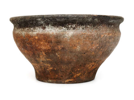 Old empty ceramic bowl or flower pot, isolated on white background