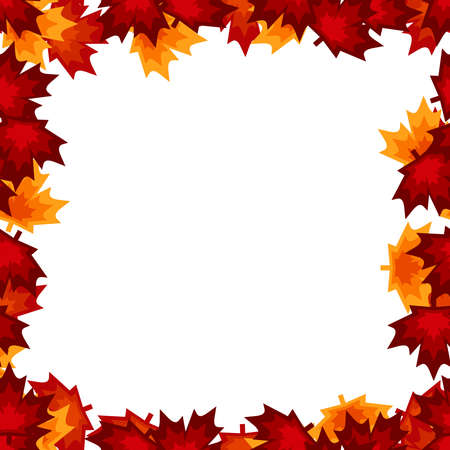 Bright red and orange maple leaves seamless ornament, abstract seasonal autumn design element