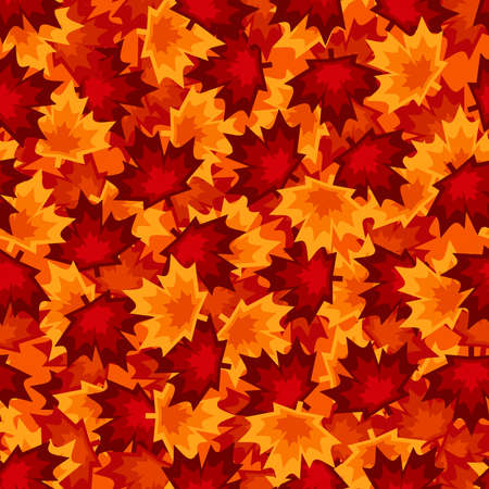 Bright red and orange maple leaves seamless pattern, abstract seasonal autumn background